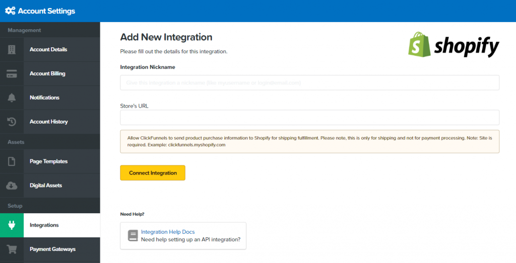clickfunnels integration with shopify